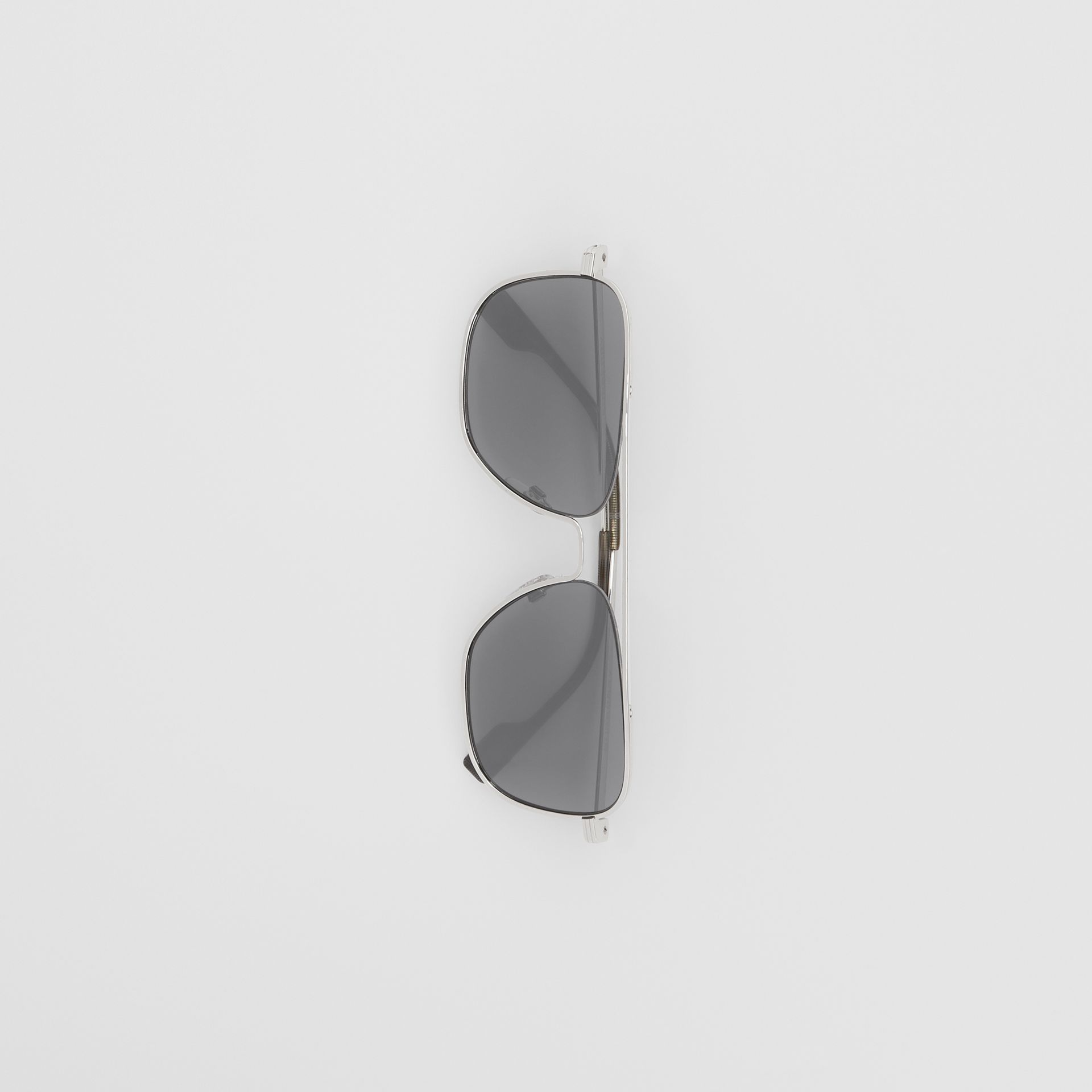 Top Bar Detail Square Frame Sunglasses in Gunmetal Grey | Burberry - gallery image 3