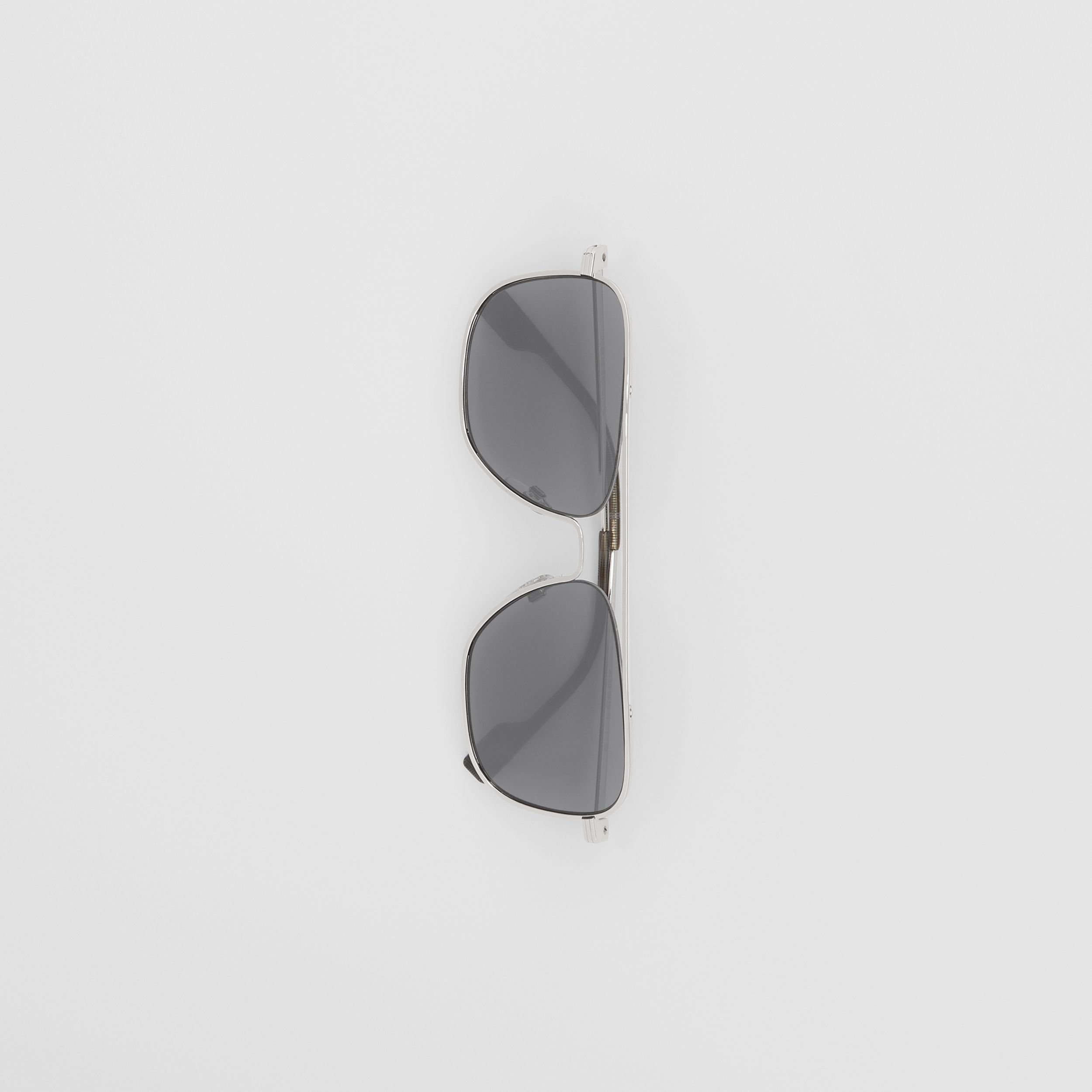 Top Bar Detail Square Frame Sunglasses in Gunmetal Grey - Men | Burberry - 4