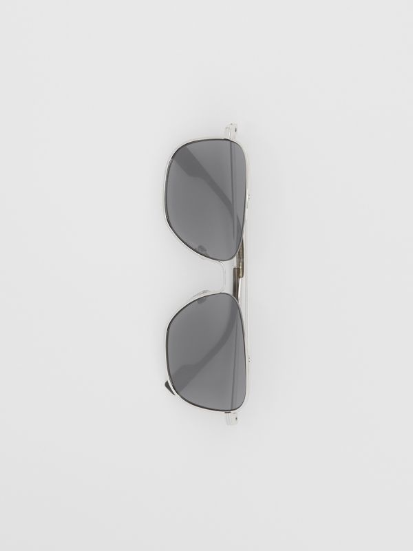 Top Bar Detail Square Frame Sunglasses in Gunmetal Grey | Burberry - cell image 3