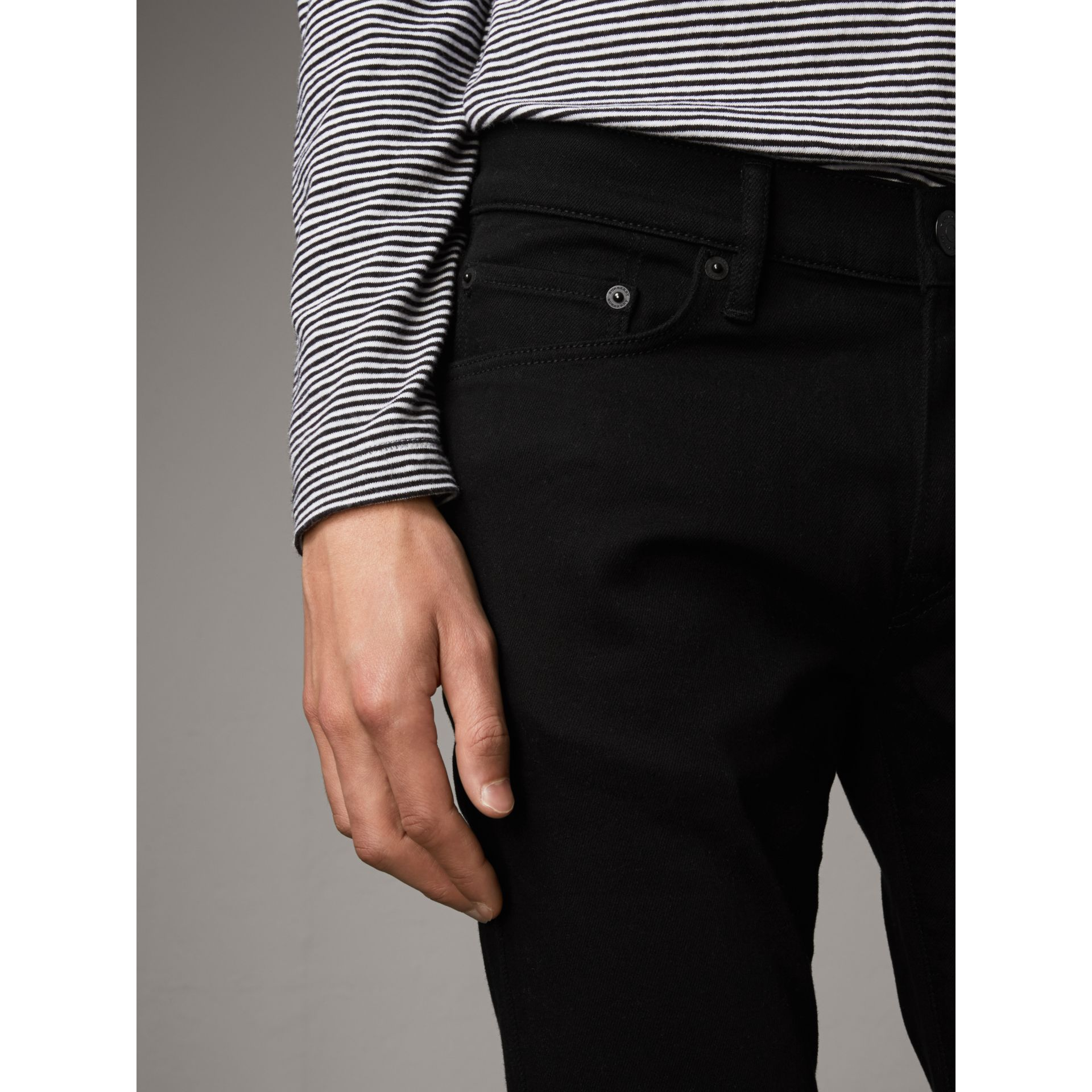Slim Fit Stretch-denim Jeans in Black - Men | Burberry Australia - gallery image 4