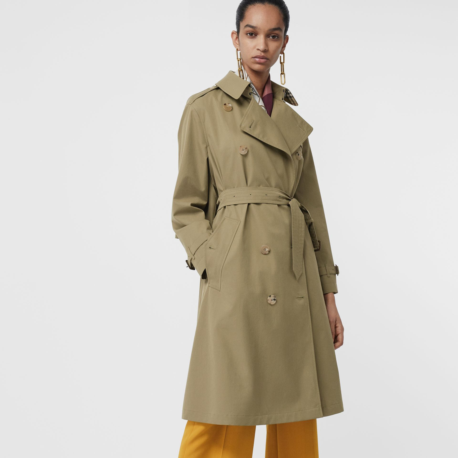 Relaxed Fit Tropical Gabardine Trench Coat in Vintage Green - Women | Burberry United States - gallery image 4