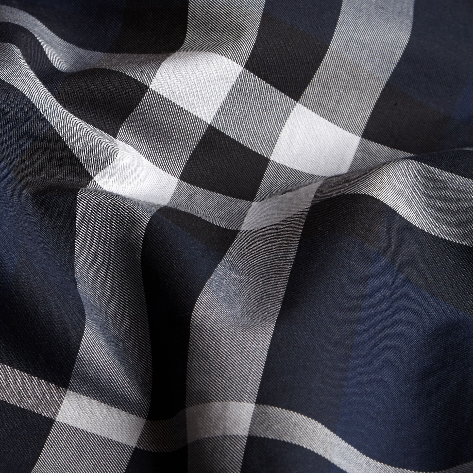 Check Twill Cotton Boxer Shorts in Navy - Men | Burberry - gallery image 2