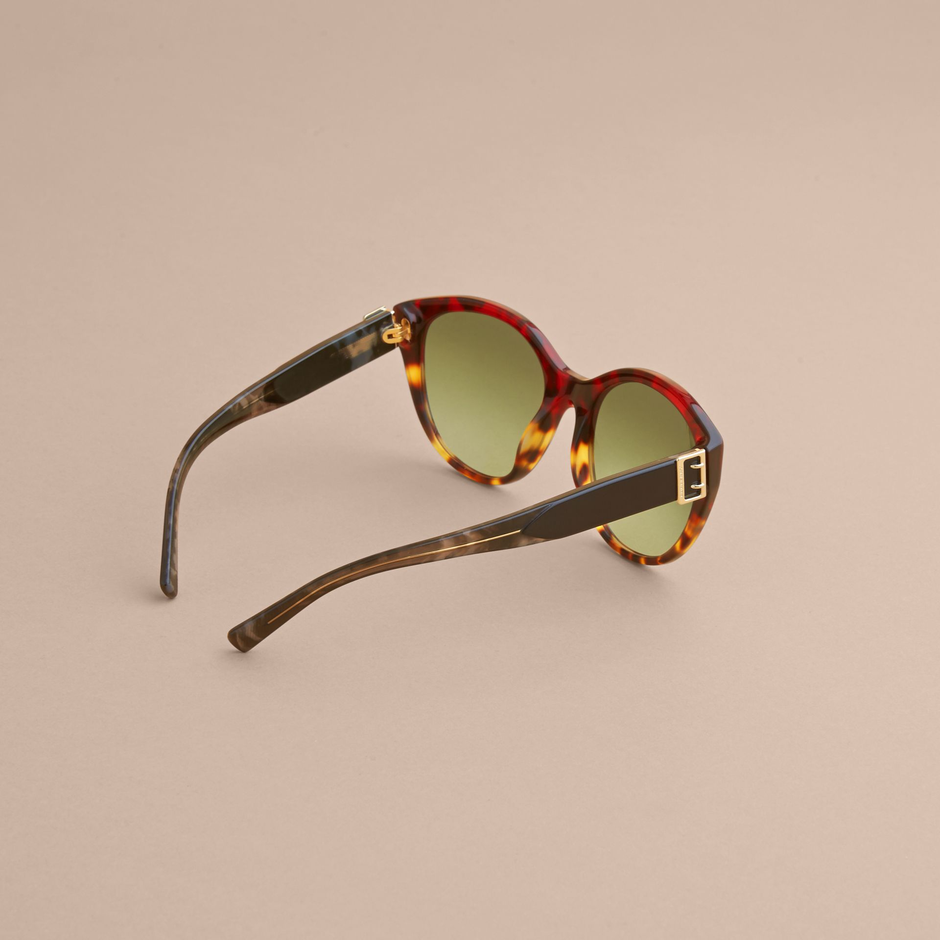 Buckle Detail Round Frame Sunglasses in Amber Yellow - Women | Burberry - gallery image 4