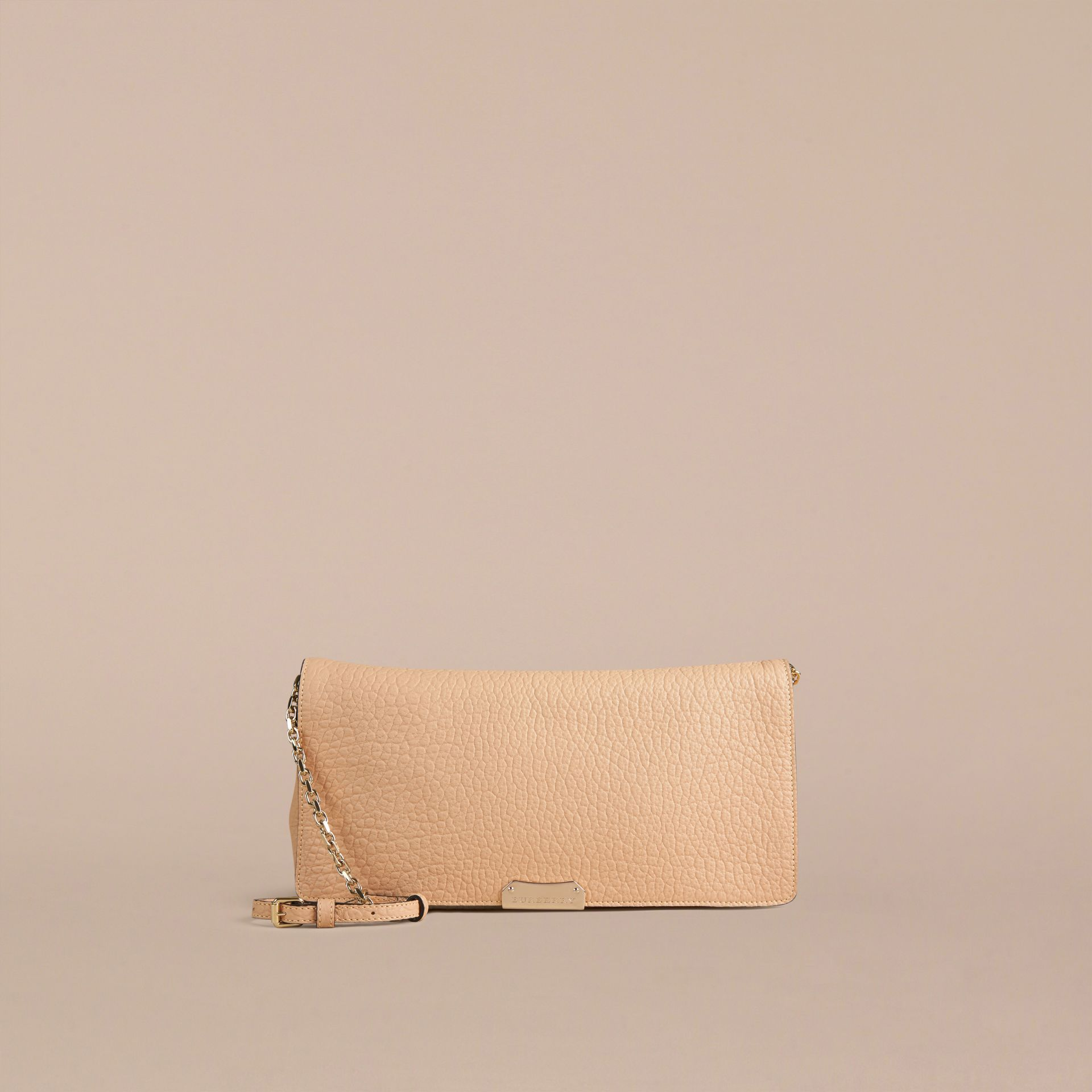 Pale apricot Medium Signature Grain Leather Clutch Bag Pale Apricot - gallery image 2