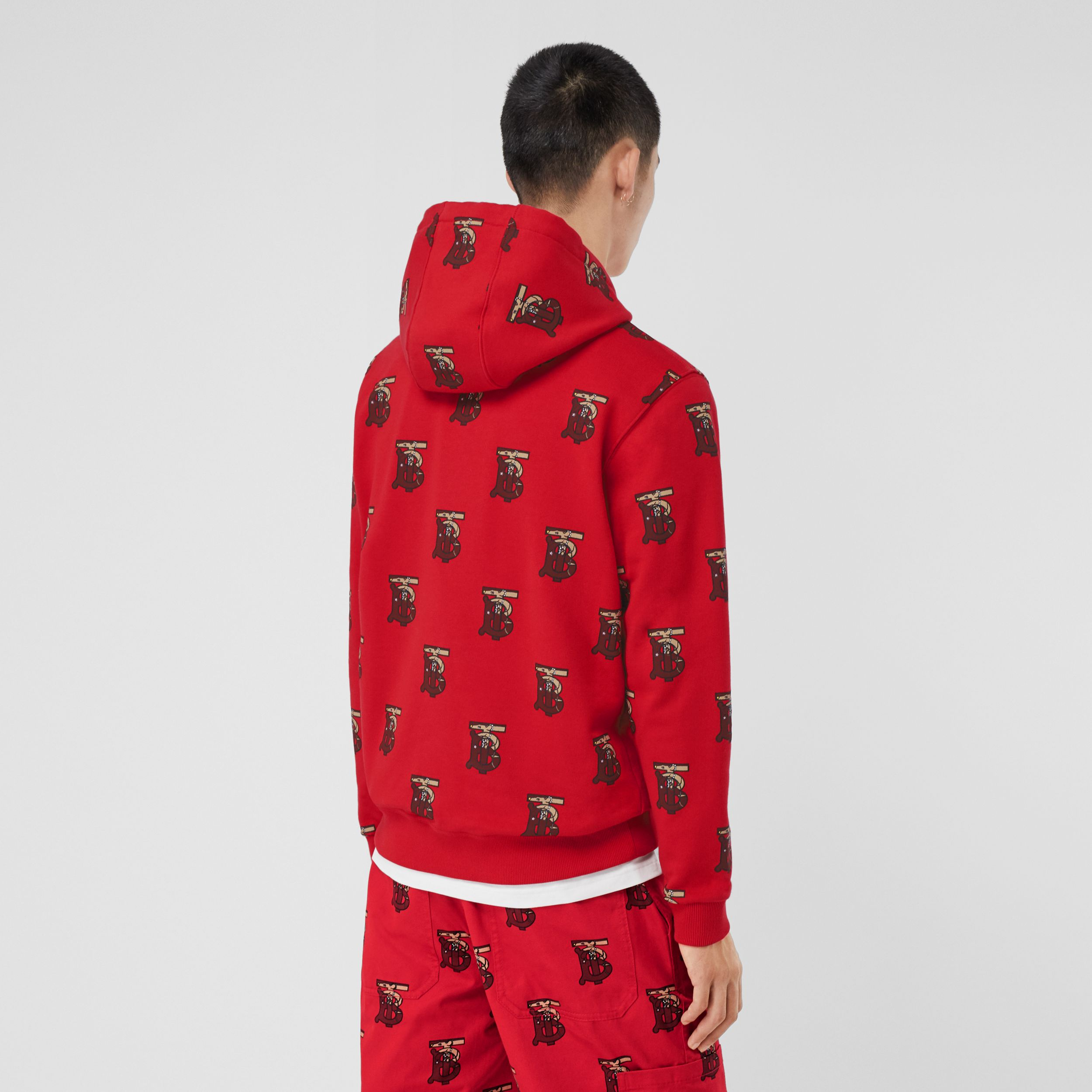 Monogram Motif Cotton Oversized Hoodie in Bright Red - Men | Burberry Hong Kong S.A.R. - 3