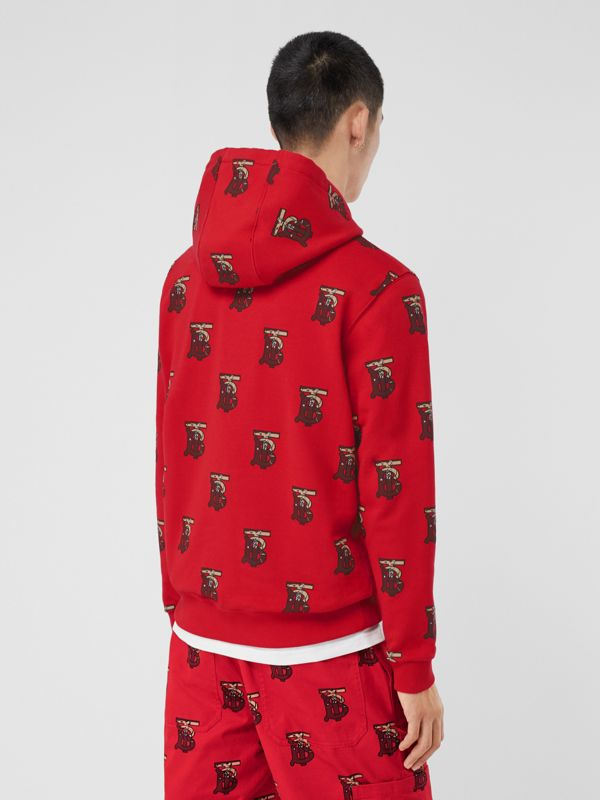 Monogram Motif Cotton Oversized Hoodie in Bright Red - Men | Burberry - cell image 2