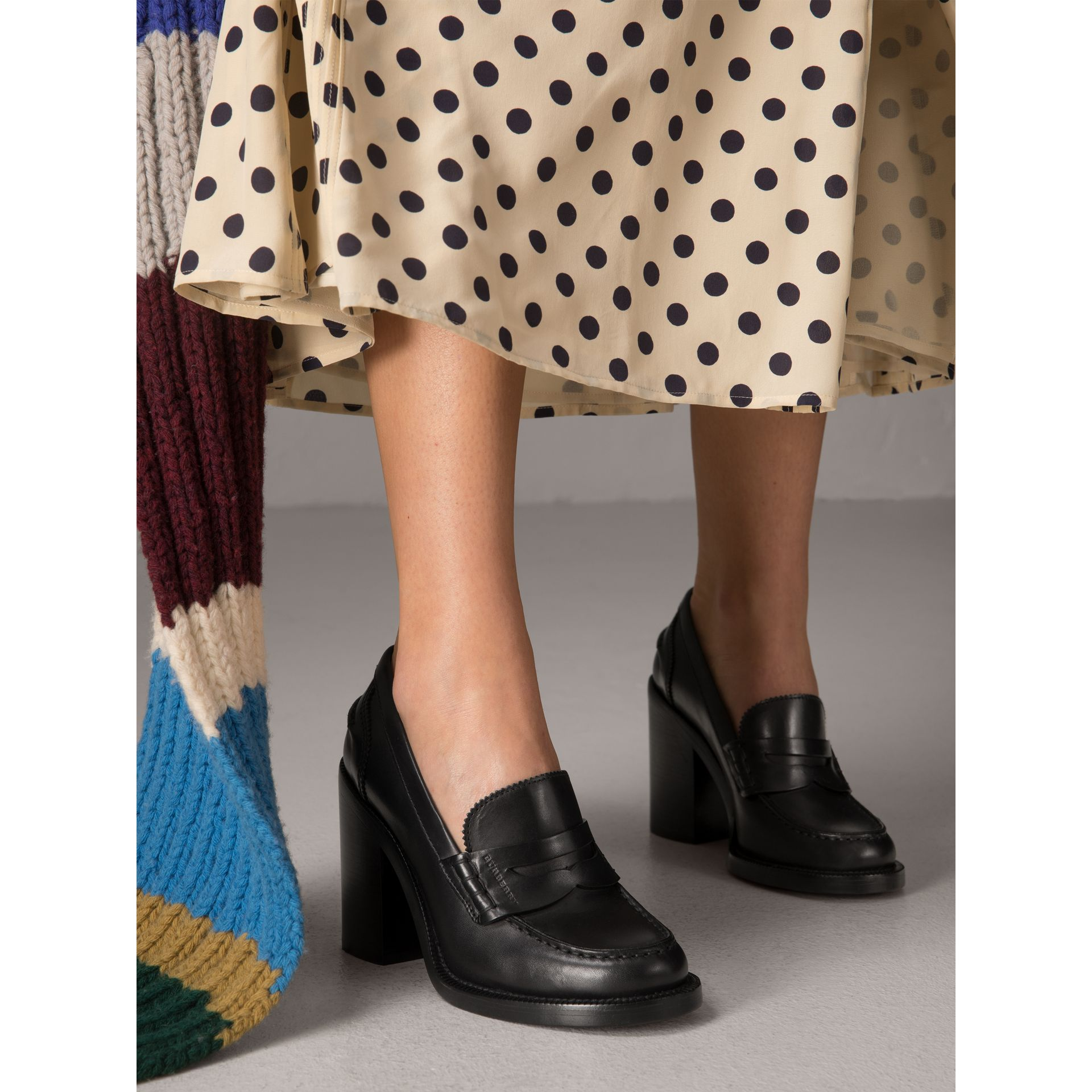 Leather Block-heel Penny Loafers in Black - Women | Burberry - gallery image 2