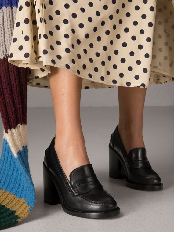 Leather Block-heel Penny Loafers in Black - Women | Burberry - cell image 2