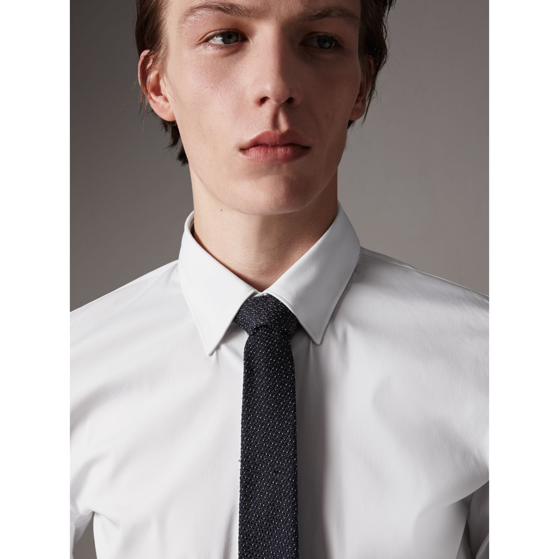 Slim Fit Stretch Cotton Shirt in White - Men | Burberry Australia - gallery image 1