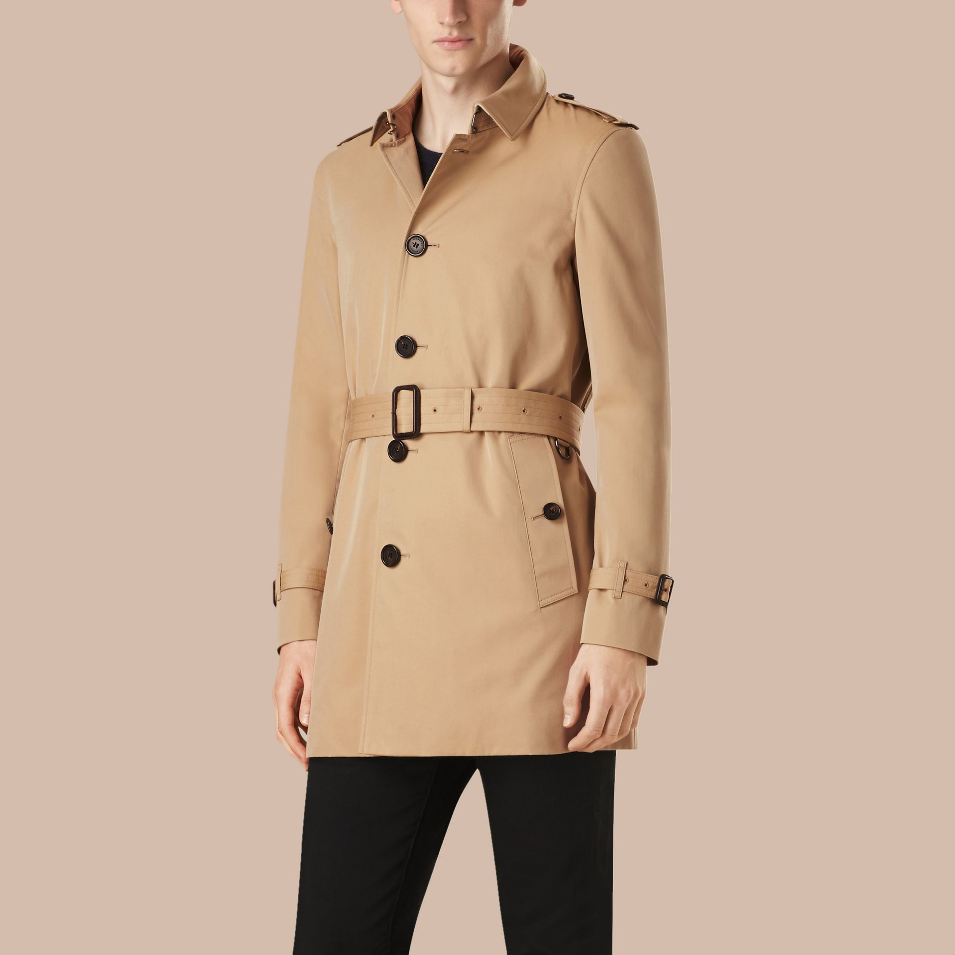 Honey Mid-length Cotton Gabardine Trench Coat - gallery image 4