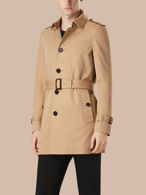 Honey Mid-length Cotton Gabardine Trench Coat - cell image 3