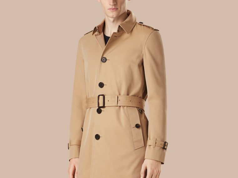 Trench coat medio in gabardine di cotone - Uomo | Burberry - cell image 4