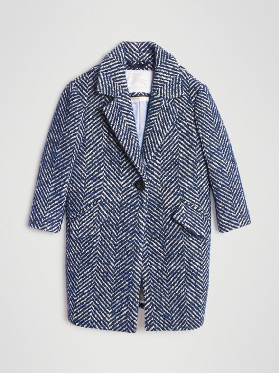Herringbone Wool Cotton Blend Tailored Coat in Navy