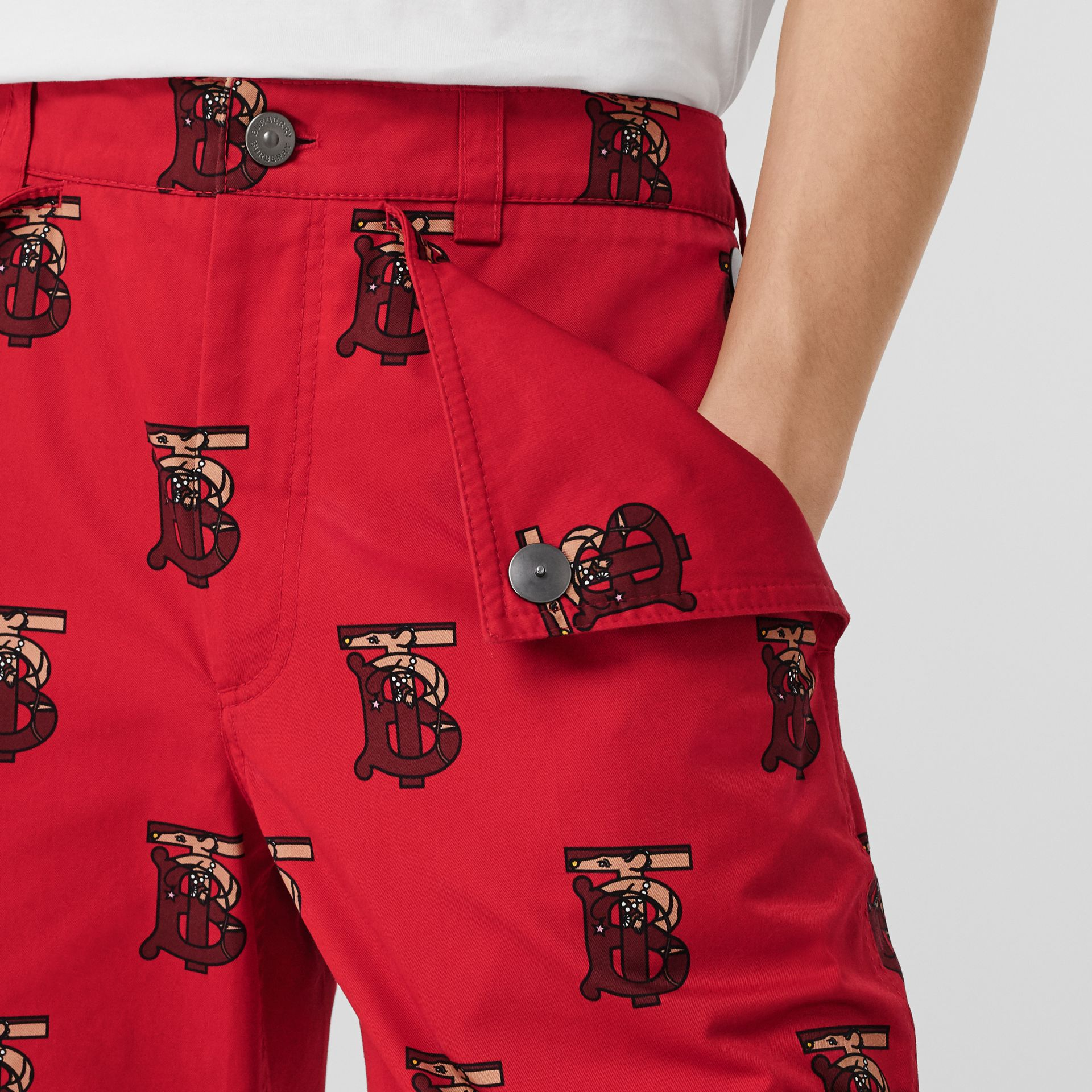 Monogram Motif Cotton Tailored Shorts in Bright Red - Men | Burberry - gallery image 1