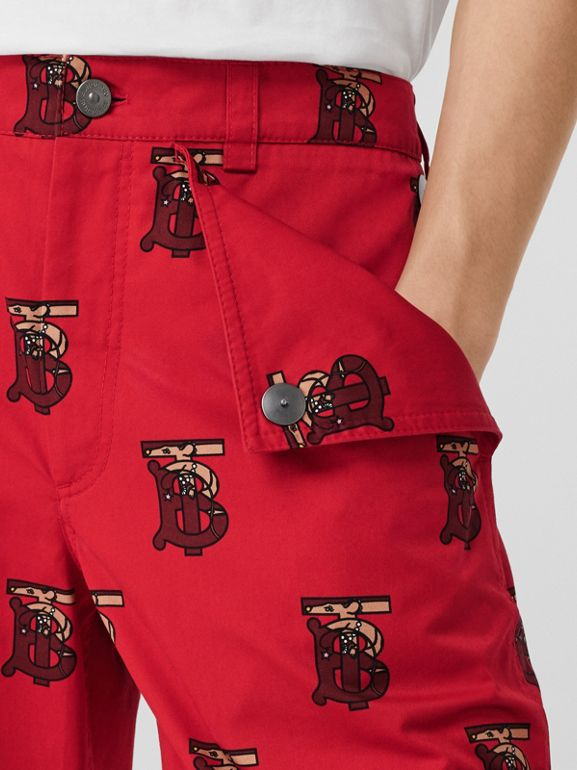 Monogram Motif Cotton Tailored Shorts in Bright Red - Men | Burberry - cell image 1