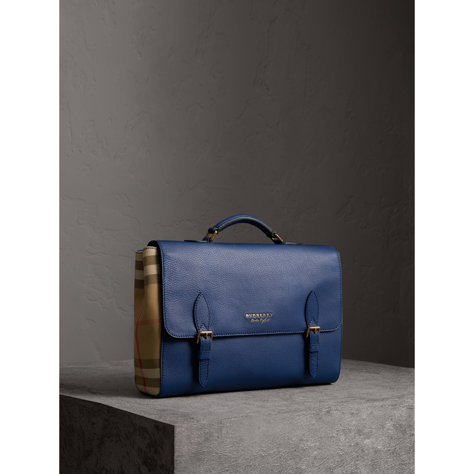 Leather and House Check Satchel in Deep Blue - Men | Burberry Australia - gallery image 1