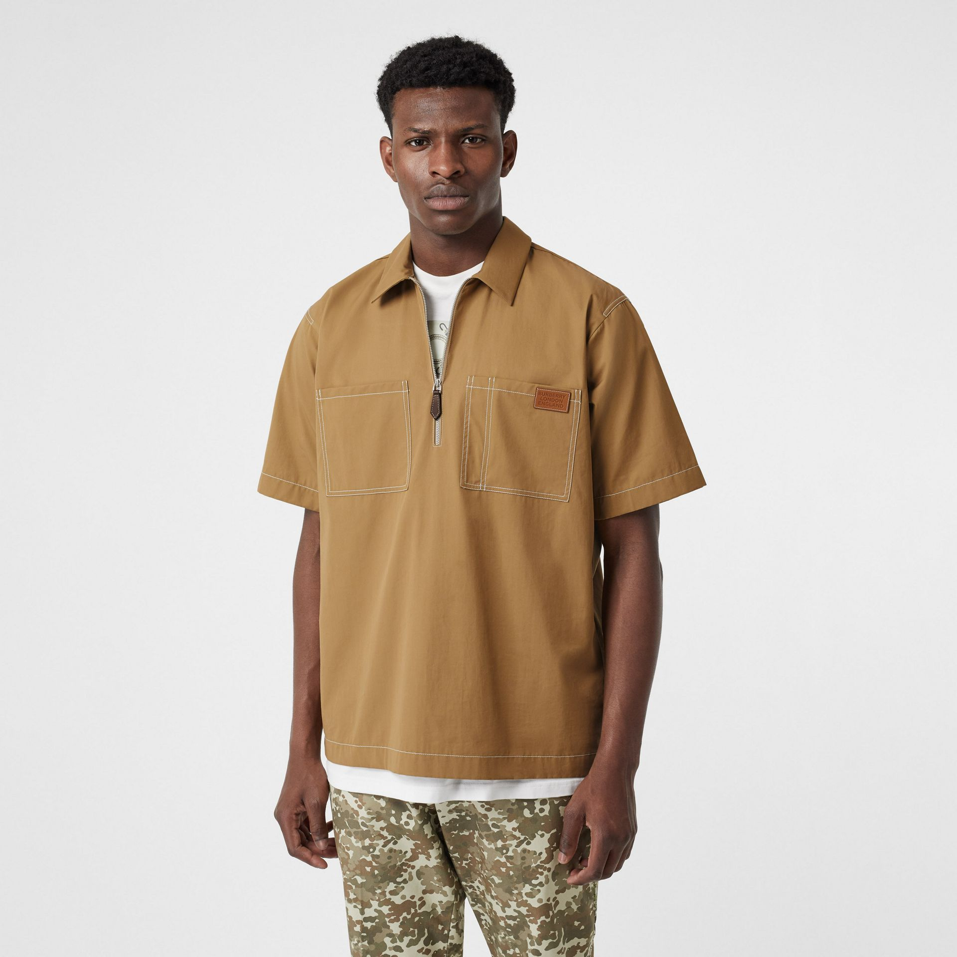 Short-sleeve Military Cotton Shirt in Dark Honey - Men | Burberry - gallery image 4