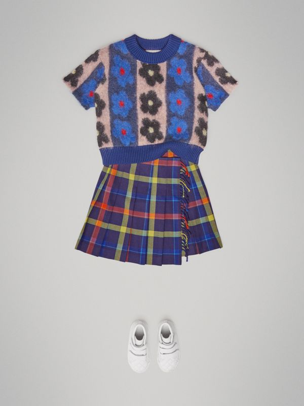Fringe Detail Tartan Wool Kilt in Bright Navy - Children | Burberry Canada - cell image 2