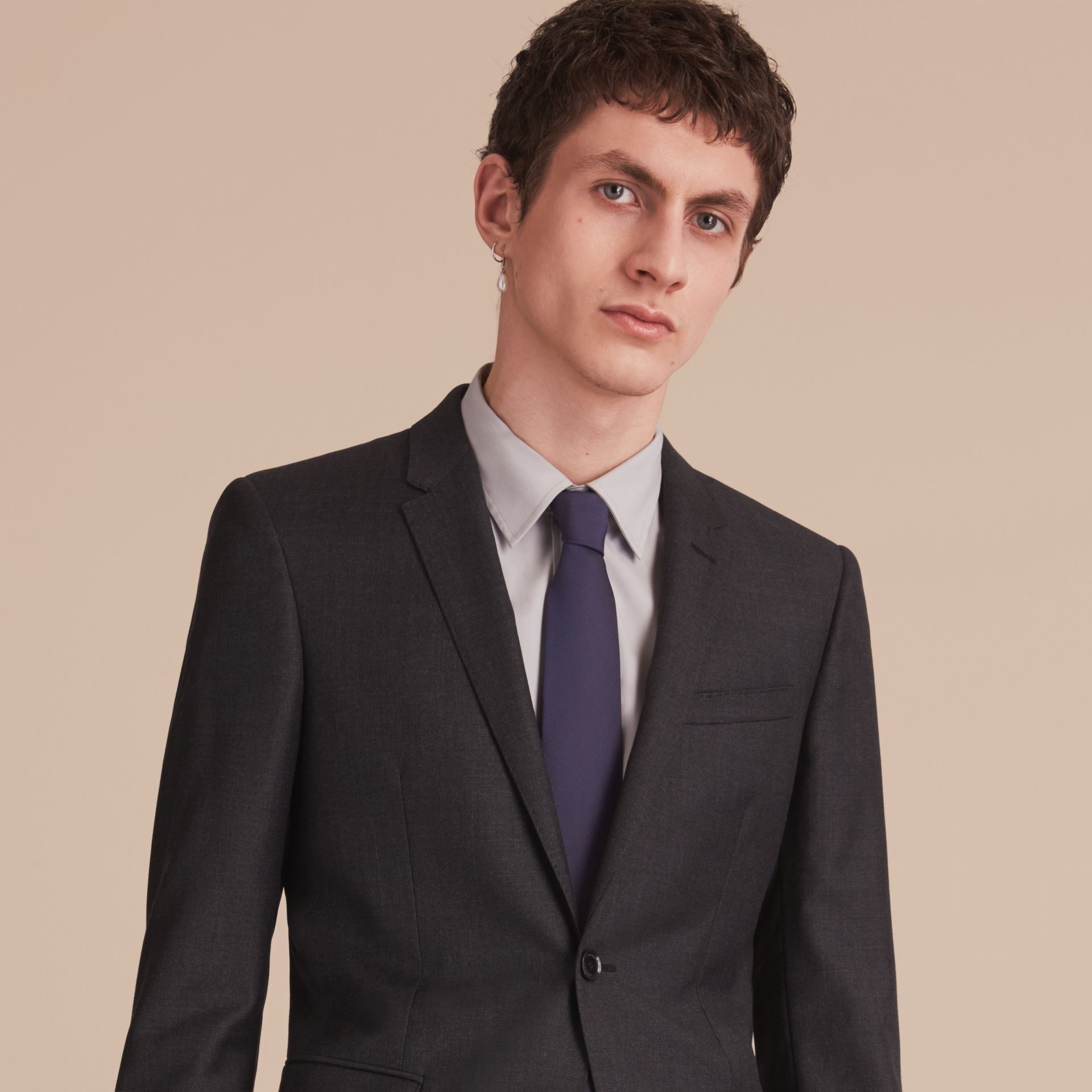 Modern Cut Silk Twill Tie in Navy - Men | Burberry Australia - gallery image 3