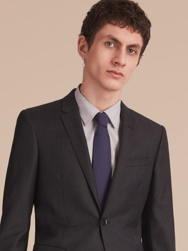 Modern Cut Silk Twill Tie in Navy - Men | Burberry United Kingdom - cell image 2