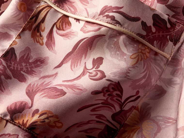 Pink heather Short-sleeved Floral Print Silk Pyjama-style Shirt Pink Heather - cell image 1