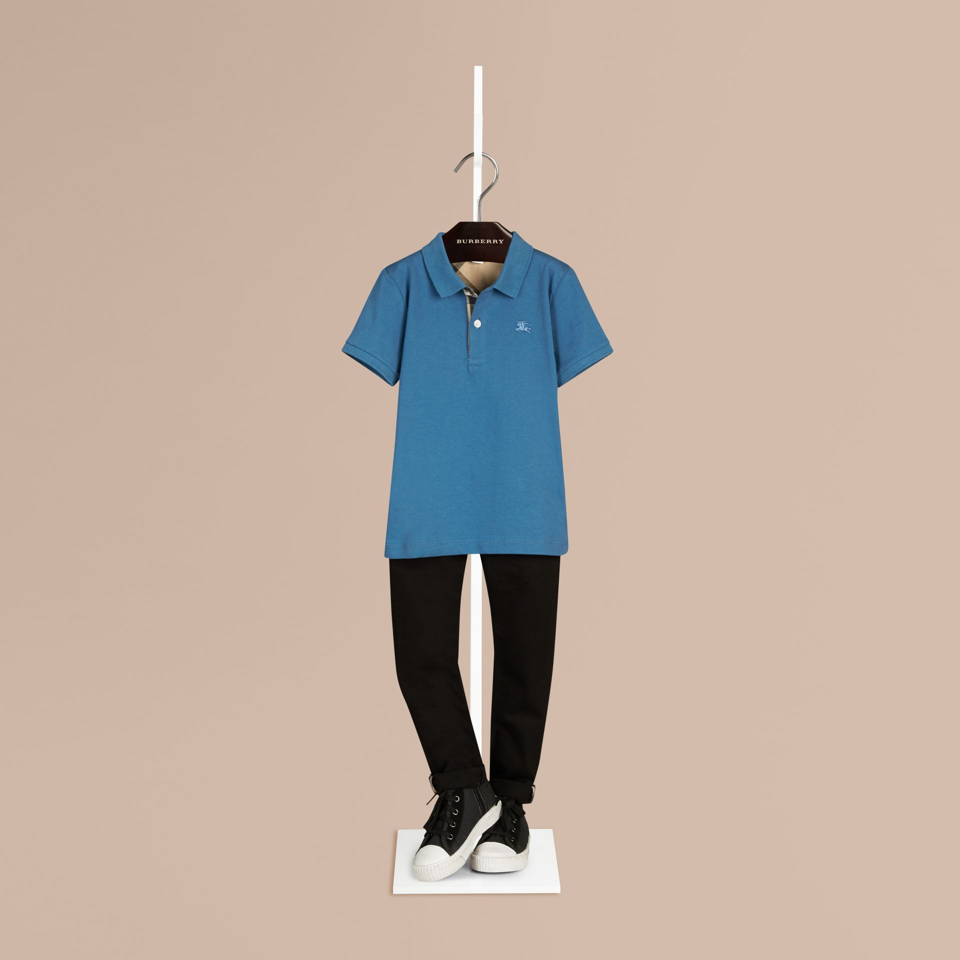 Lupin blue Check Placket Polo Shirt Lupin Blue - gallery image 1