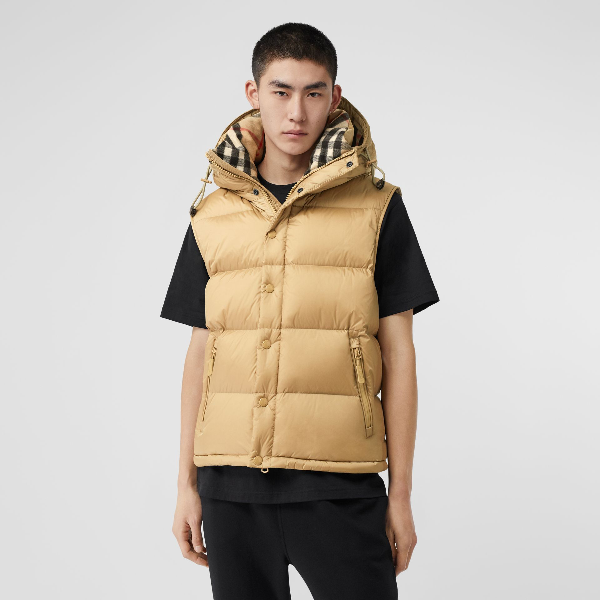 Detachable Sleeve Hooded Puffer Jacket in Honey - Men | Burberry - gallery image 6