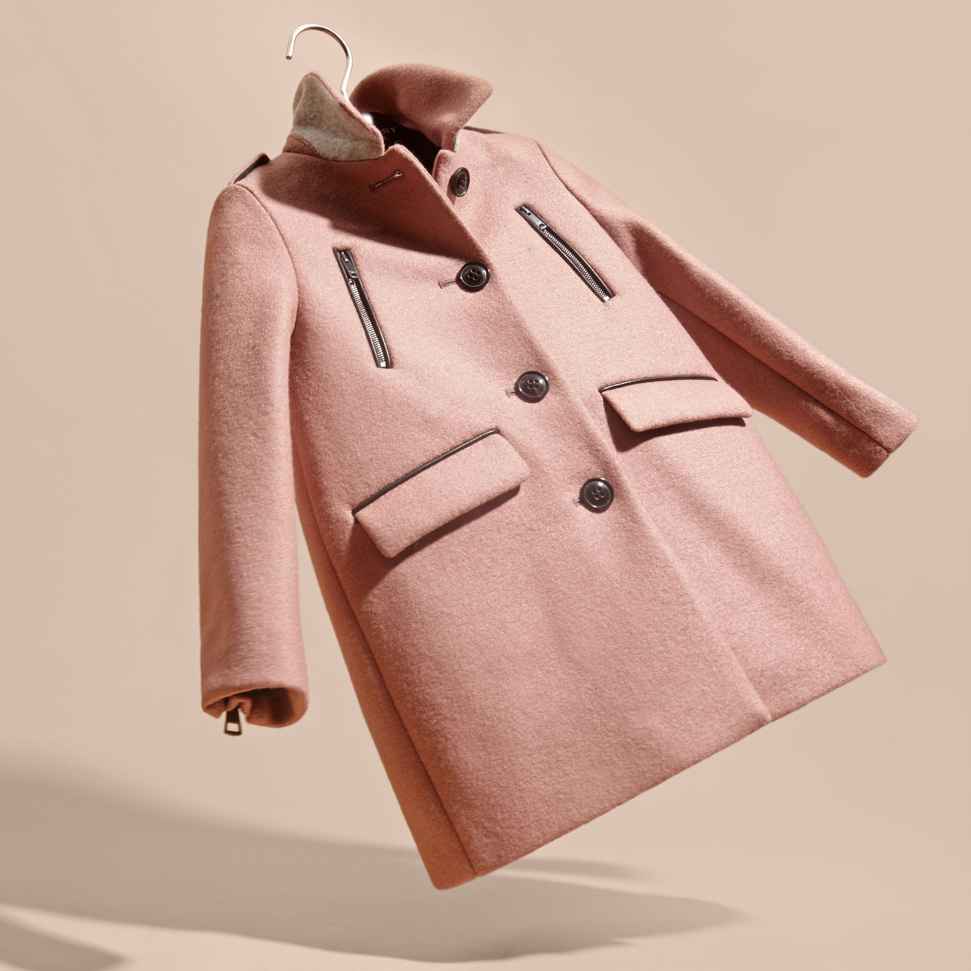Pale ash rose Zip Detail Wool Coat - gallery image 3
