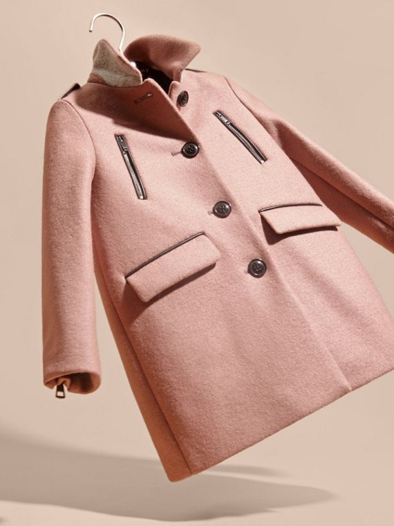 Pale ash rose Zip Detail Wool Coat - cell image 2