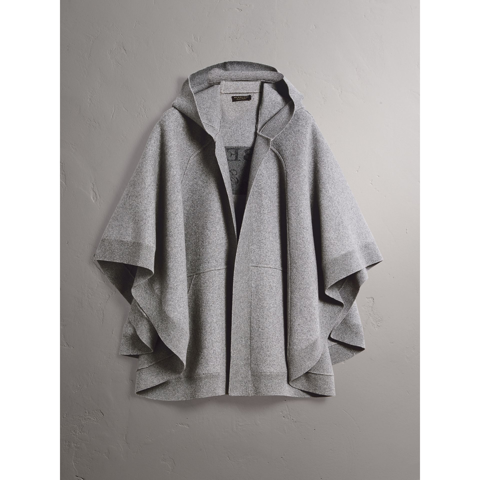 Wool Cashmere Blend Hooded Poncho in Mid Grey Melange - Women | Burberry Australia - gallery image 4