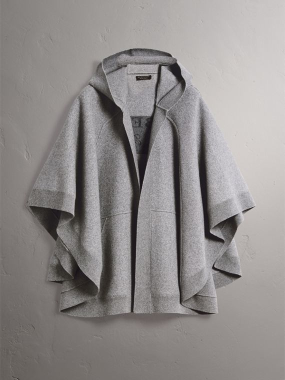 Wool Cashmere Blend Hooded Poncho in Mid Grey Melange - Women | Burberry Australia - cell image 3