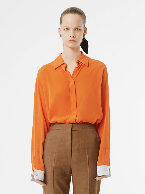 Contrast Cuff Silk Shirt in Orange