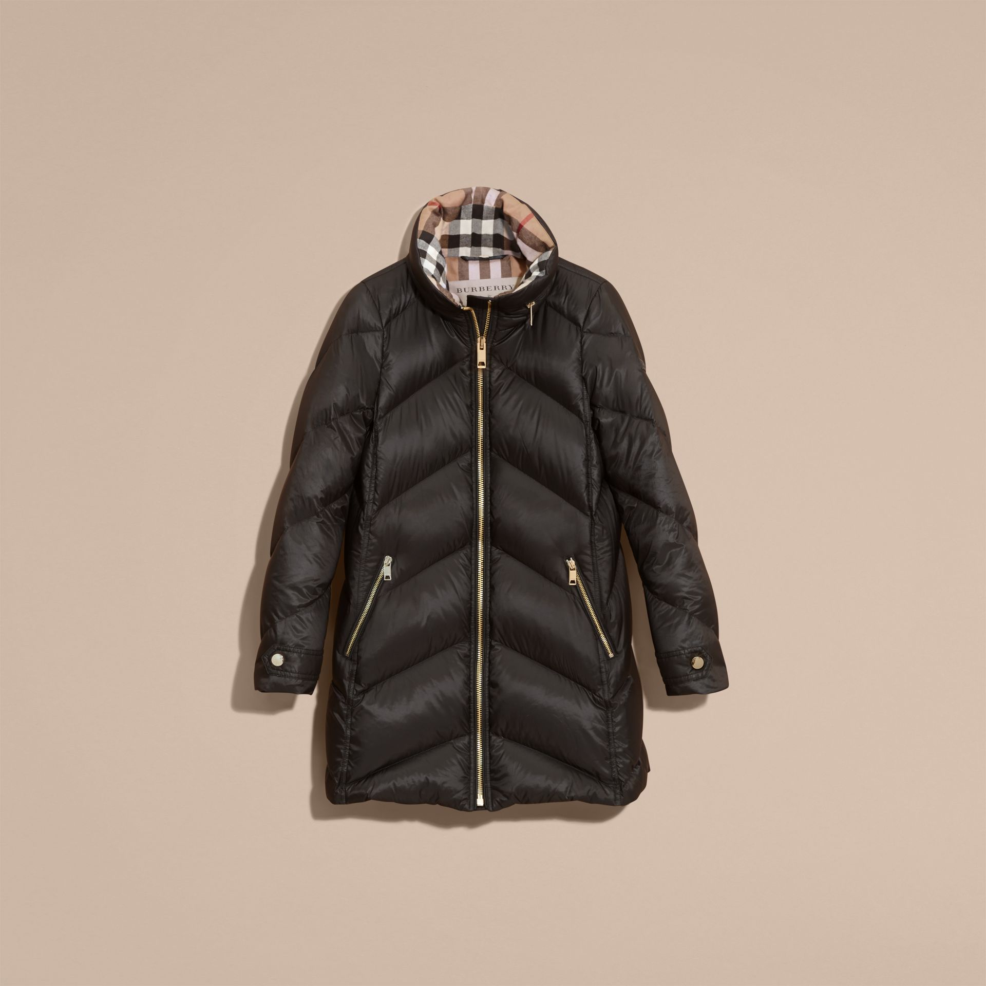 Black Chevron-quilted Down-filled Coat Black - gallery image 4