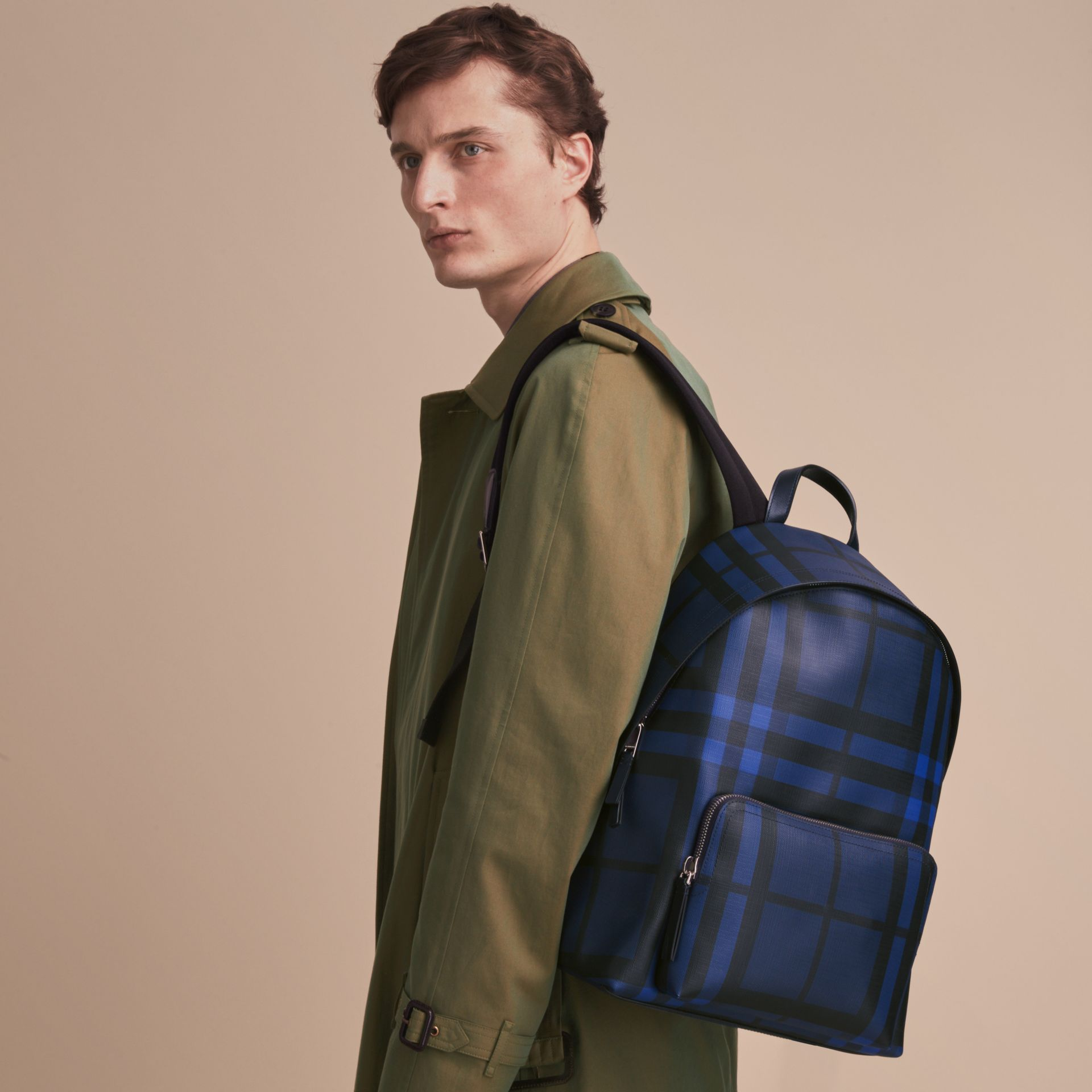 Leather Trim London Check Backpack in Bright Lapis - Men | Burberry - gallery image 3