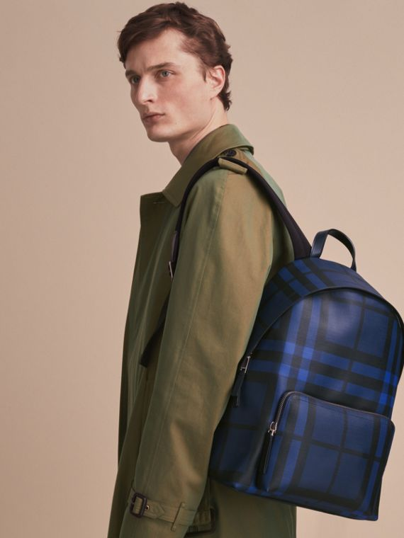 Leather Trim London Check Backpack in Bright Lapis - Men | Burberry - cell image 2