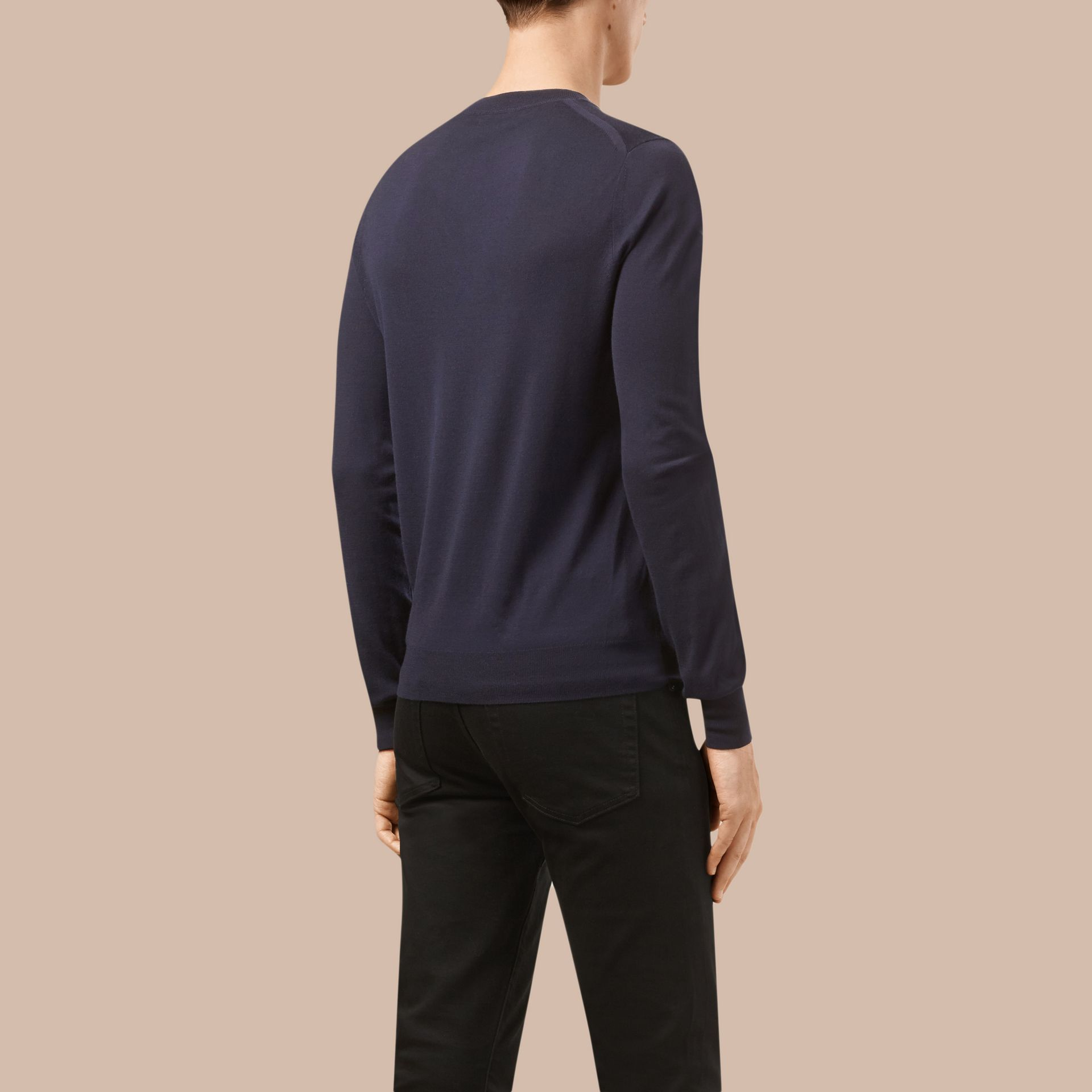 Navy Crew Neck Merino Wool Sweater - gallery image 3