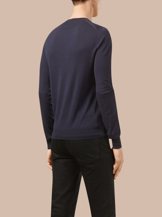 Navy Crew Neck Merino Wool Sweater - cell image 2