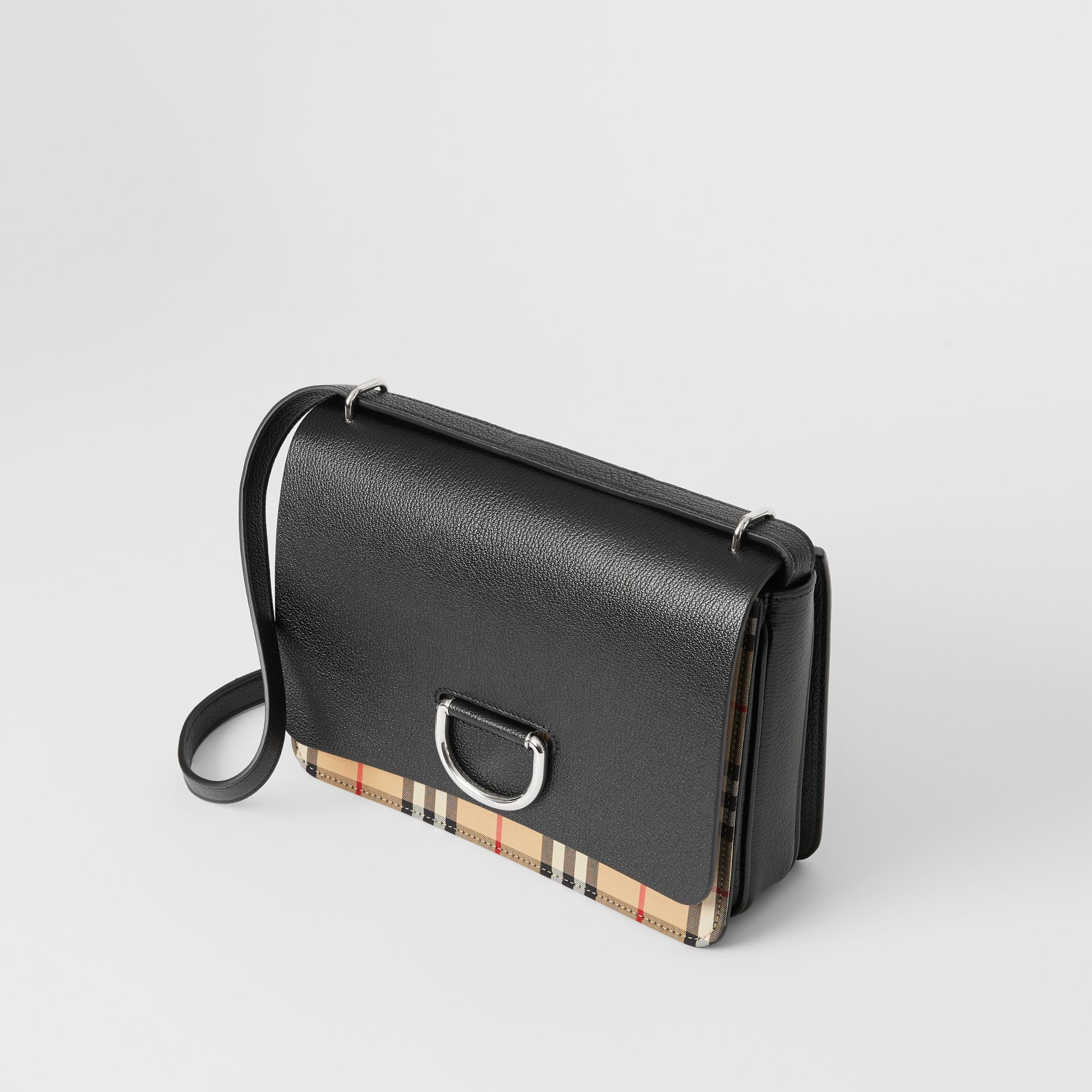 The Medium Vintage Check and Leather D-ring Bag in Black - Women | Burberry United States - gallery image 3