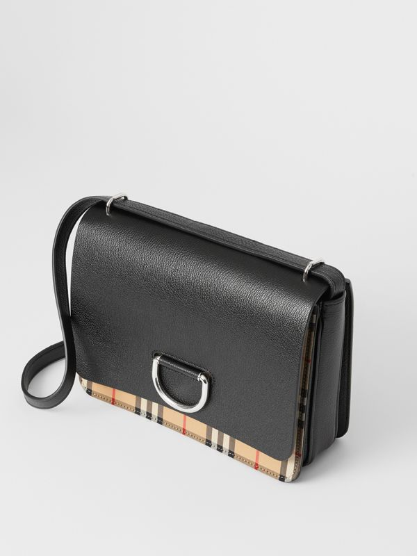 The Medium Vintage Check and Leather D-ring Bag in Black - Women | Burberry United States - cell image 3
