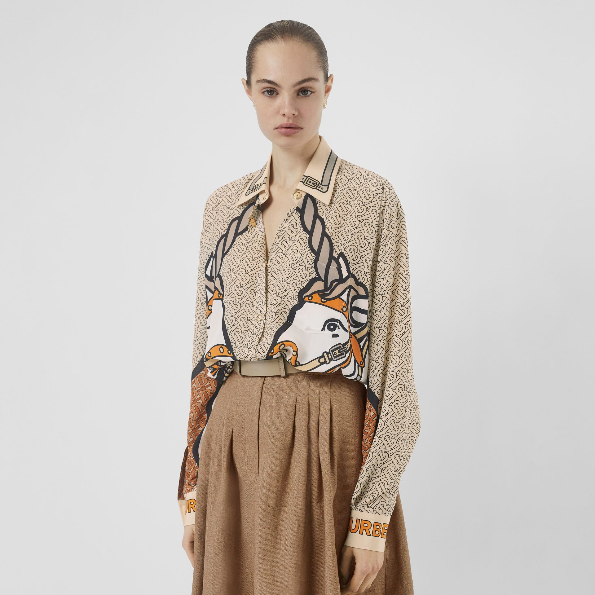Unicorn and Monogram Print Silk Oversized Shirt in Light Camel - Women | Burberry Australia - gallery image 0