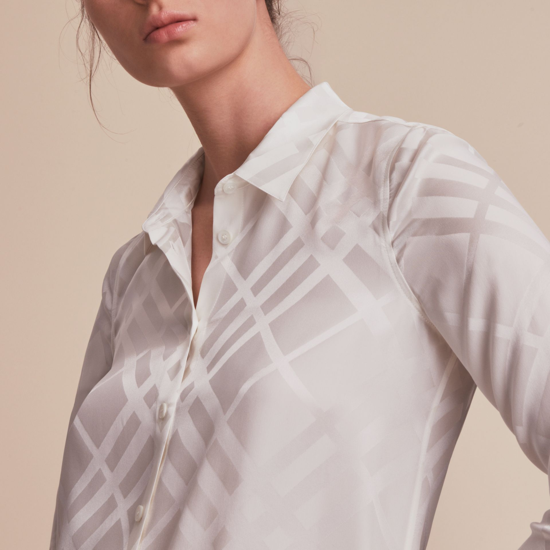Tonal Check Silk Shirt in White - Women | Burberry - gallery image 5