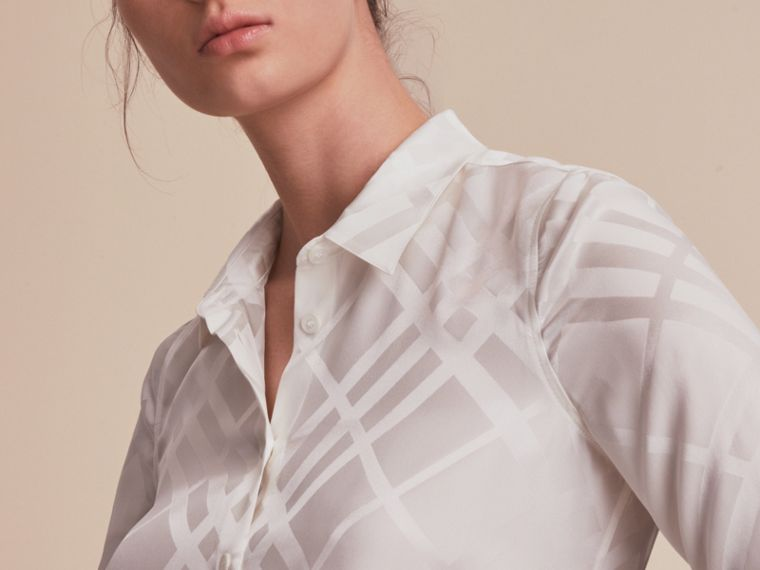 Tonal Check Silk Shirt in White - Women | Burberry - cell image 4