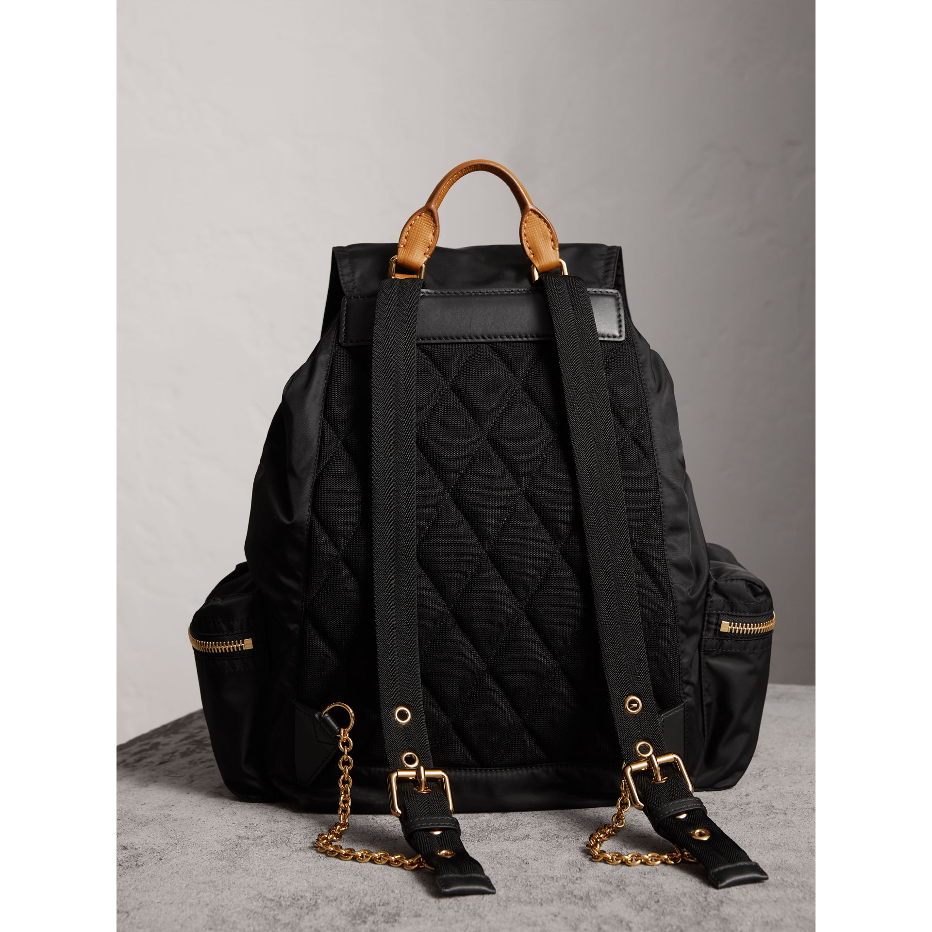 The Large Rucksack in Technical Nylon and Leather in Black - Women | Burberry United States - gallery image 3