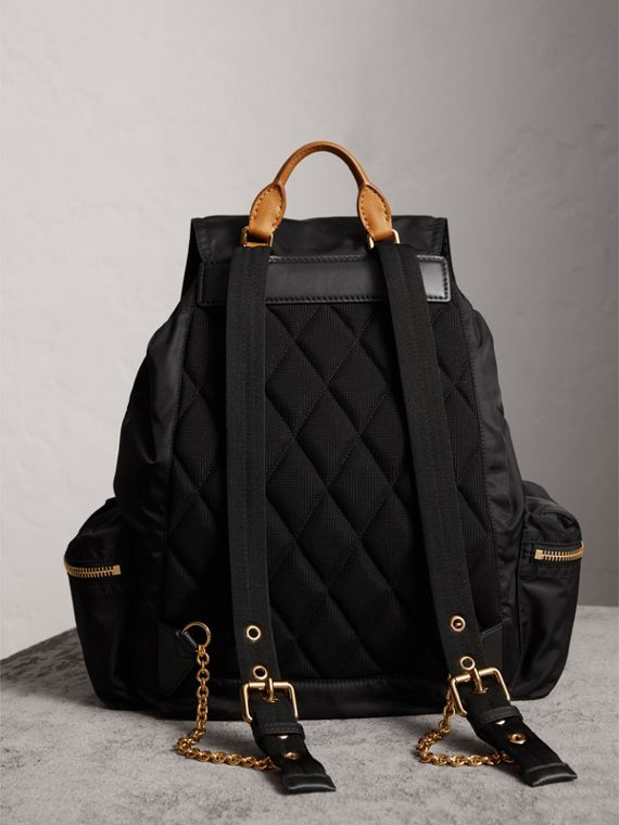 The Large Rucksack in Technical Nylon and Leather in Black - Women | Burberry United States - cell image 3