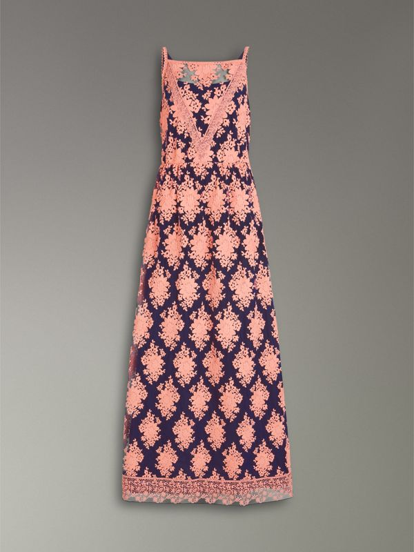Floral-embroidered Sleeveless Dress in Rose/midnight Blue - Women | Burberry United Kingdom - cell image 3