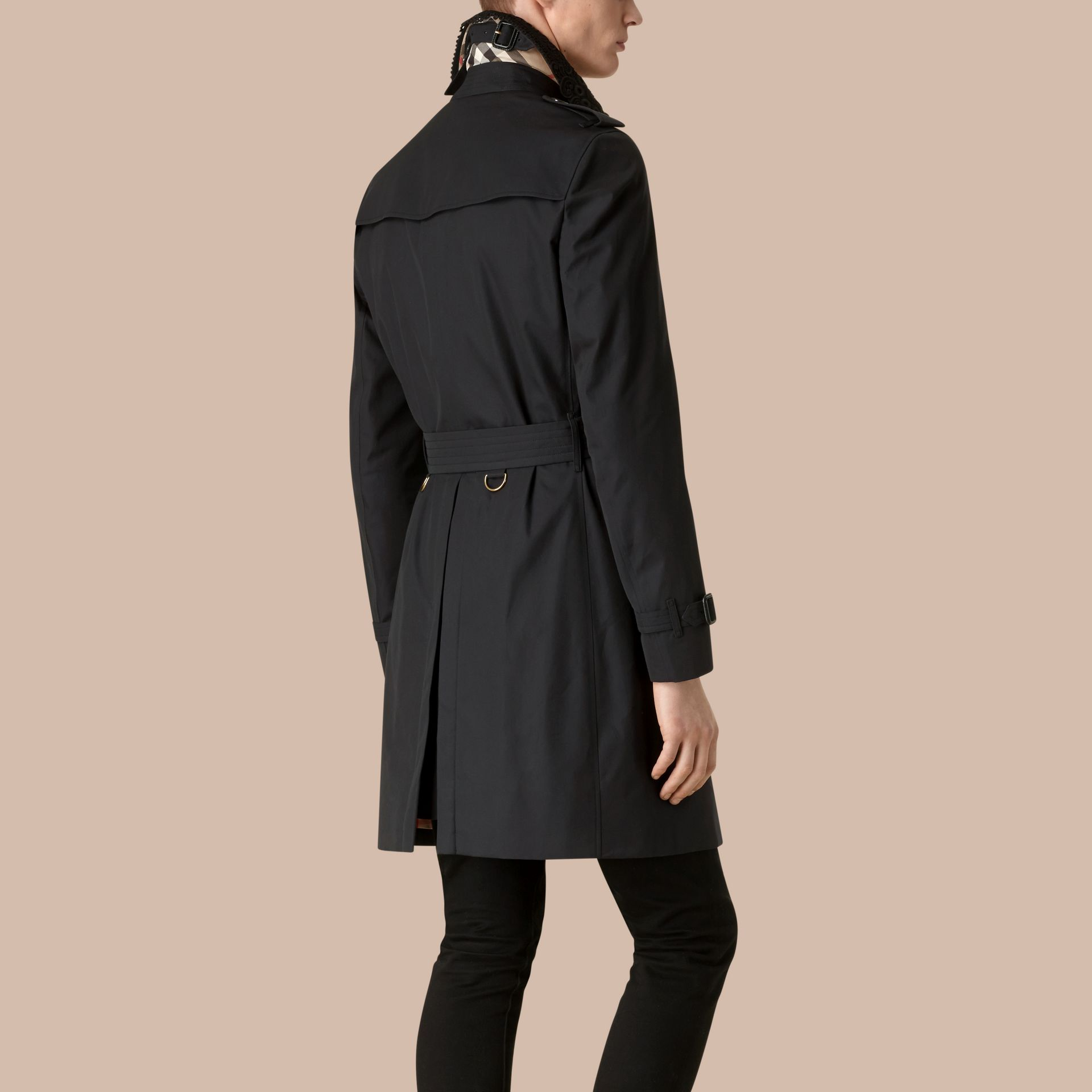 Navy The Chelsea – Gabardine Trench Coat with Lace Collar Navy - gallery image 2