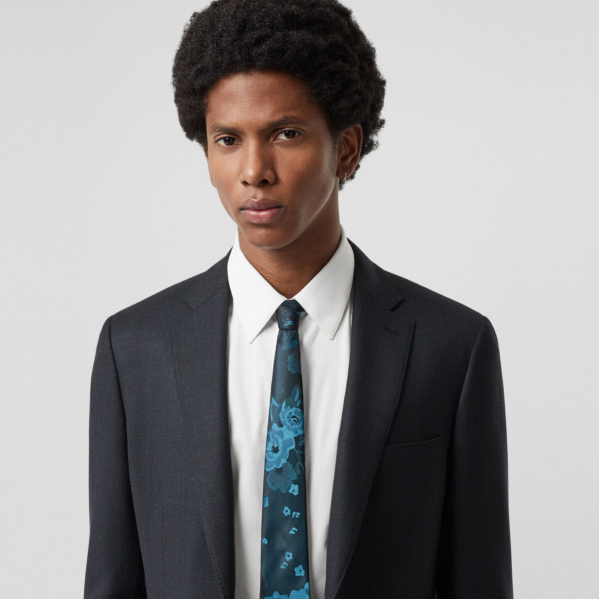 Slim Cut Floral Silk Tie in Dark Cyan - Men | Burberry - gallery image 2