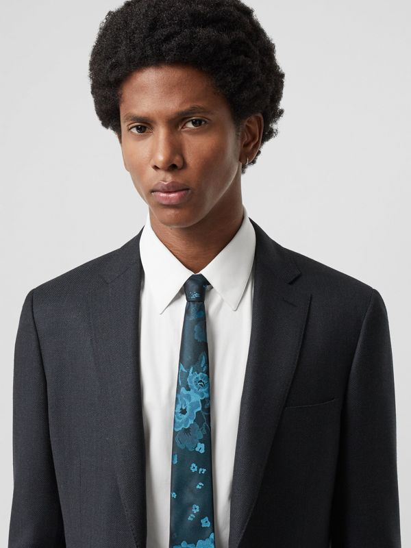 Slim Cut Floral Silk Tie in Dark Cyan - Men | Burberry - cell image 2