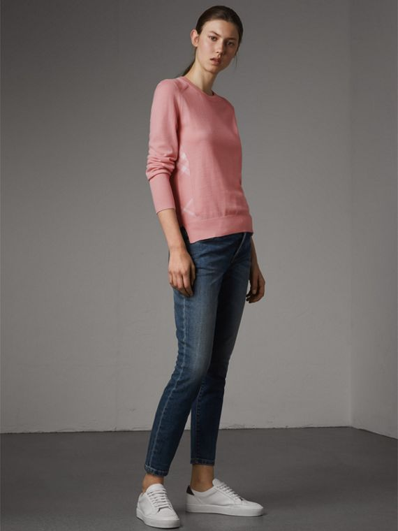 Check Detail Merino Wool Sweater in Apricot Pink - Women | Burberry - cell image 3