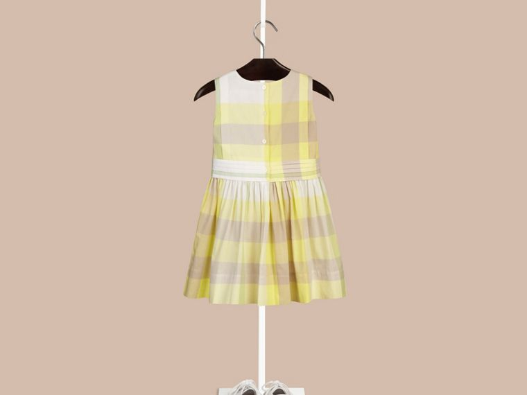 Pale lemon Sleeveless Check Cotton Dress Pale Lemon - cell image 1